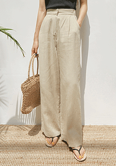 Linen Pintuck Wide Pants