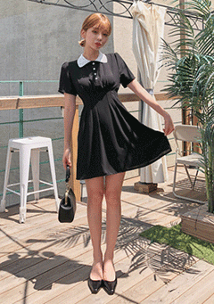 Heart Buttons Pointed Mini Black Dress