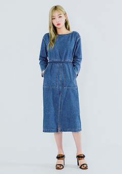 Vintage Front Slit Denim Dress