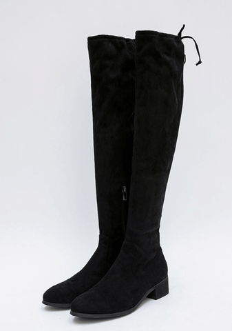 Line Back Ribbon Knee Boots