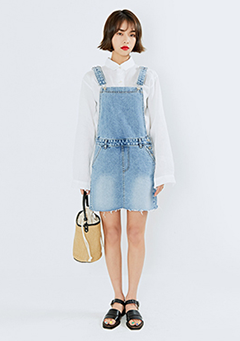 Raw Hem Overall Denim Dress