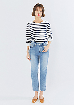 Cuffed Sleeve Stripy Top