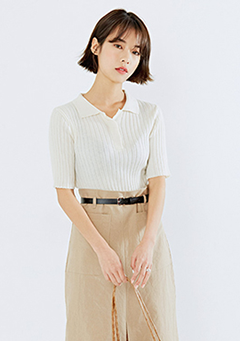 Collar Ribbed Knit