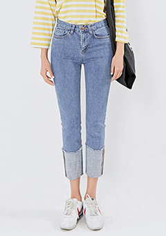 Crop Rollup Straight Jeans