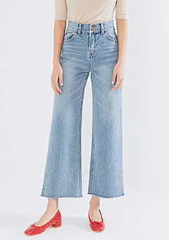 Two-Button Wide Jeans