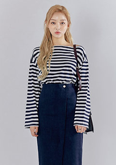 Subtle Off-Shoulder Stripe Top