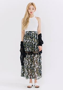 Patterned See Through Slip Midaxi Skirt