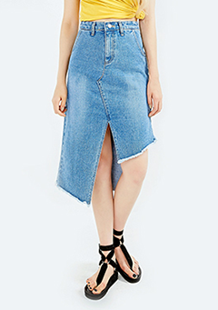 Tri-Symmetry Denim Skirt