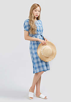 Midly Puffed Check Dress