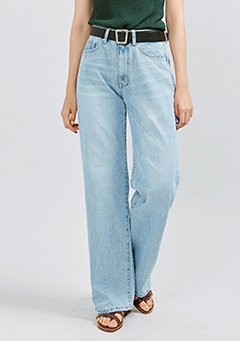 Light Whisker Washed Wide Jeans