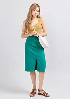 One-Button Slit Midi Skirt