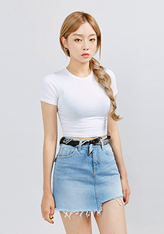 Round Neck Solid Crop Top