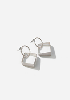 Thick Squared Silver Earrings