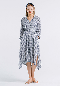 Checkered Loose Long Robe Dress