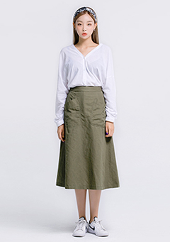 Linen Wide Hem Pocket Skirt