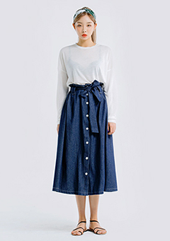 Stitch Denim Skirt