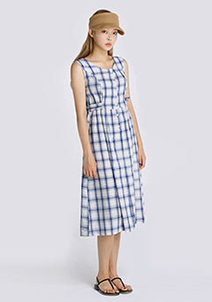 Summer Checkered Midi Dress