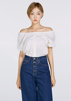Front Button Puffed Off Shoulder Blouse