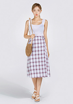 Vanilla Check Wrap Skirt