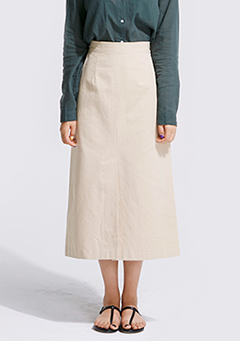 Subtle Slit Long Cotton Skirt