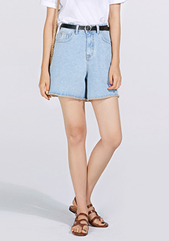 Widening Shape Denim Shorts w/ Belt