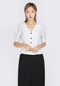 Button-Down Shirring Shoulder Blouse