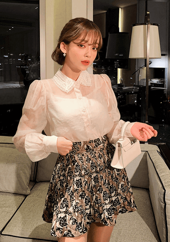 Lovely Sheer Lace Collar Blouse