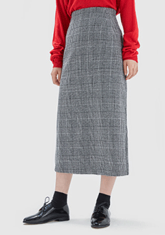 H-Line Check Long Skirt