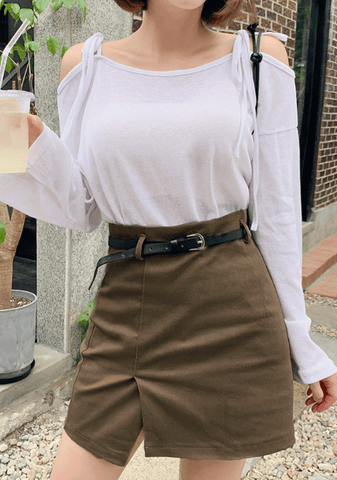 Soft Autumn Latte Skirt + Belt Set