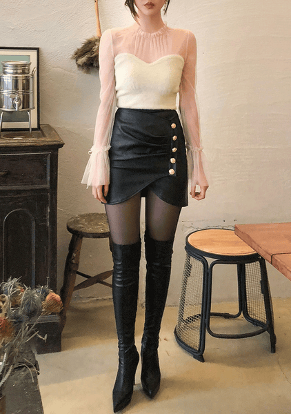 Button Leather Skirt
