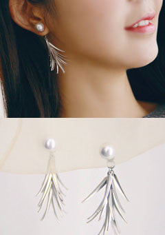 Bell Lime Leaf Pearl Earrings