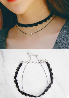 Crochet Choker and Imitation Pearl String Necklace Set