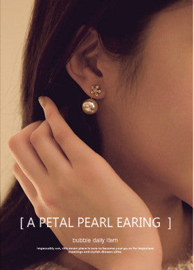 Flower Stud Pearl Earrings