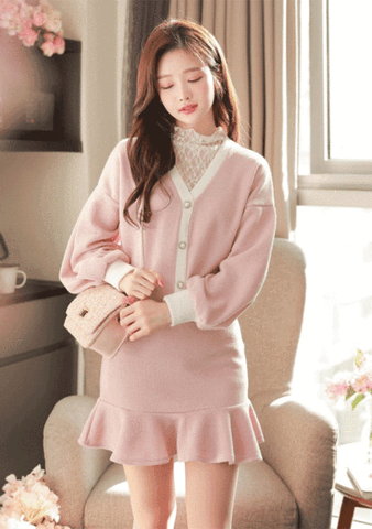 Frosted Tulip Knit Cardigan Skirt Set