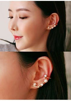 Gem And Pearl Accented Ear Cuffs