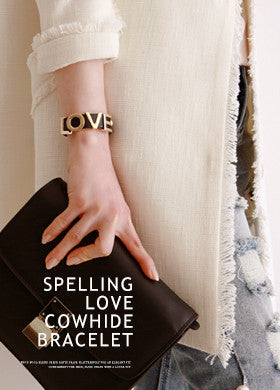 Lettering Cowhide Leather Bracelet