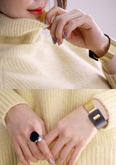 Minimal Leather Metal Bracelet