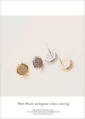 New Moon Polygons Cubic Earing