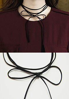 Oblique Oblique Self-Tie Suede Strap Necklace