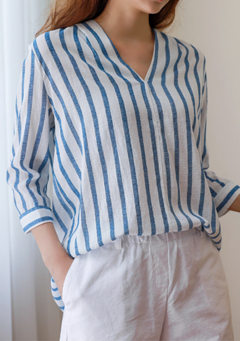 Rimbey V Neck Stripes Blouse