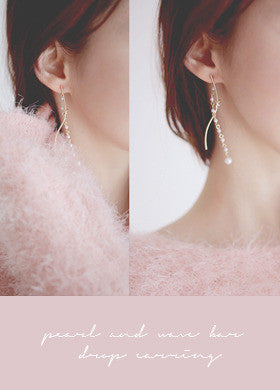 Wave Stick Pearl Chain Earrings