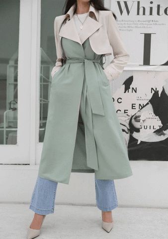 Snap Button Tie-Waist Trench Coat