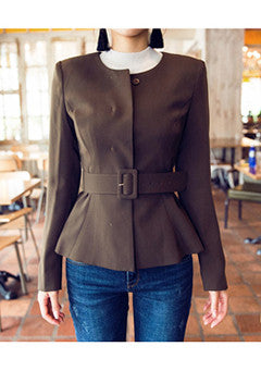Someday JK Belted Collarless Jacket