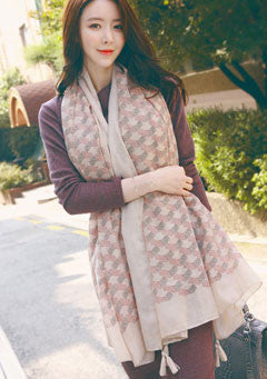Tassel Accent Patterned Scarf