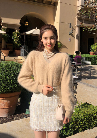 Cafe Now Angora V-Neck Knit Sweater