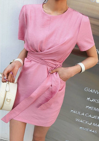 Pin-tuck Shoulder Tie-Waist Dress