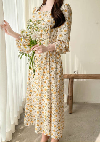 Sweet Flowers Square Neck Dress
