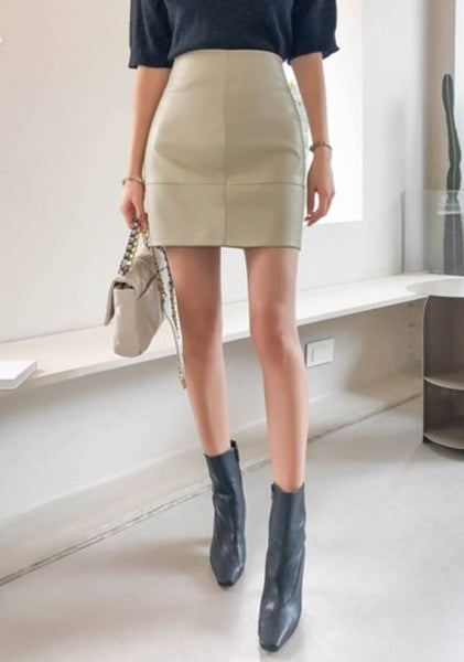 Feeling It For Awhile Leather Look Mini Skirt