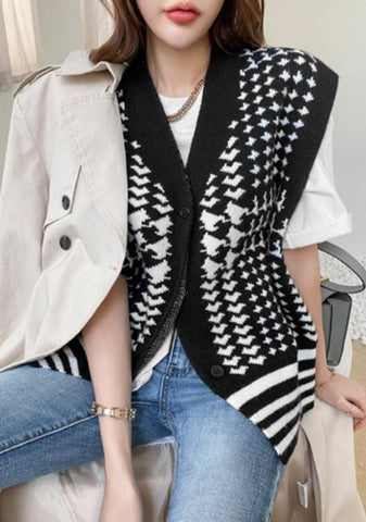 We Come In A Package Patterned Knit Vest
