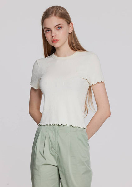 Frill Hem Short Sleeves T-Shirt (Ivory)
